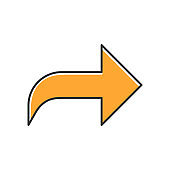 Right orange curved arrow color icon. Direction sign, forward curve. Bend arrow. Motion pointer. Navigation arrowhead. Pointing cursor. Indicator, designator. Isolated vector illustration