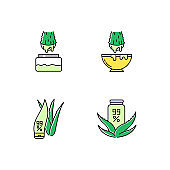 Aloe vera green color icons set. Juice from cut succulent leaf. Liquid from sliced cactus thorn. Pure plant based cosmetic products. Natural cream package. Isolated vector illustrations