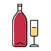 Wine pink color icon. Alcohol bar. Bottle and wineglass. Alcoholic beverage. Champagne glass. Restaurant service. Glassware for sparkling flute wine. Isolated vector illustration