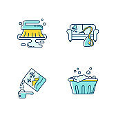 Cleanup service blue and yellow RGB color icons set. Stain removal, floor wet cleaning and furniture dry cleaning. Handwash, washing powder and basin use. Isolated vector illustrations