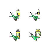 Aloe vera green color icons set. Moisturizing spray. Antiaging lotion with medicinal herbs. Plant based lotion. Organic lip balm. Deodorant for skin care. Isolated vector illustrations