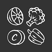 Vitamin C chalk icon. Lemon, broccoli and bell pepper. Healthy eating. Ascorbic acid natural food source. Vegetables. Proper nutrition. Minerals, antioxidants. Isolated vector chalkboard illustration