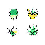 Aloe vera green color icons set. Juice from cut succulent. Liquid from sliced cactus leaf. Mortar with pestle for botanical ingredients. Natural cream. Organic cosmetic. Isolated vector illustrations