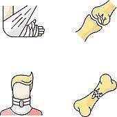 Body injuries RGB color icons set. Bone and joint fractures. Broken neck. Cervical collar. Arm in bandage, plaster. Medical condition. Treatment. Isolated vector illustrations