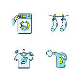Washing clothes blue and yellow RGB color icons set. Washateria, coin laundry and steam cleaning service. Fabric care, eco dry cleaning and outdoor drying. Isolated vector illustrations