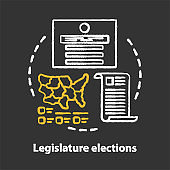 Elections chalk concept icon. Legislature elections idea. Electorate choosing new congress, law maker part of state. Government official voting. Vector isolated chalkboard illustration