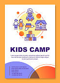 Afterschool kids summer camp brochure template layout. Flyer, booklet, leaflet print design with linear illustrations. Vector page layouts for magazines, annual reports, advertising posters