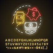 Deposit neon light concept icon. Savings & investments. Casino deposit bonus idea. Digital wallet payment. Cash back and piggy bank. Glowing sign with alphabet, numbers. Vector isolated illustration