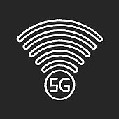 5G signal indicator chalk white icon on black background. Internet connection quality. Mobile cellular network. Wireless technology. Isolated vector chalkboard illustration