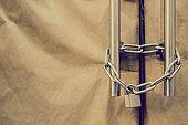 Padlock, chain, close shop