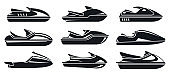 Water jet ski icons set, simple style