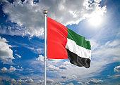 3D illustration. Colored waving flag of United Arab Emirates on sunny blue sky background.