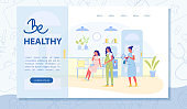 Be Healthy Vector Landing Page with Copy Space