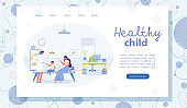 Healthy Child Vector Landing Page with Copy Space