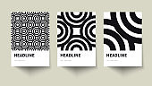 Set of creative geometric black and white posters. Business Card