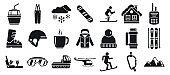 Mountain ski resort icons set, simple style