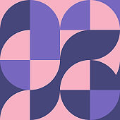 Geometric square pattern in Bauhaus style with circles