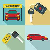 Car sharing icons set, flat style