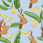 Seamless pattern with cute lazy sloths and exotic palm banana leaf.