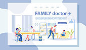 Family Doctor Vector Landing Page with Copy Space