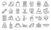 Holiday ski resort icons set, outline style