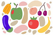 doodles hand drawn fruits and vegetables
