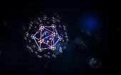 DNA mesh and glowing shining bokeh