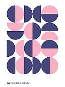 Trendy bauhaus pattern. Bauhaus poster. Vector geometric abstract circle shapes. Simple modern design