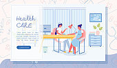 Health Care Vector Landing Page with Copy Space