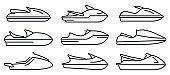 Race jet ski icons set, outline style