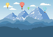 Balloons are flying against the background of a mountain landscape. Vector, cartoon illustration. Vector.