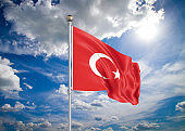 Realistic flag. 3D illustration. Colored waving flag of Turkey on sunny blue sky background.
