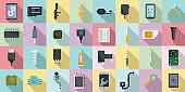 Mobile phone repair icons set, flat style