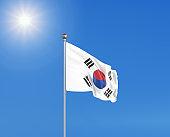 3D illustration. Colored waving flag of South Korea on sunny blue sky background.