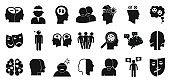 Bipolar disorder icons set, simple style