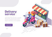 Isometric delivery service with courier on motorcycle