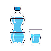 Water bottle and cup or glass