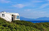 Caravan on beach by Punta Mala, Alcaidesa Spain