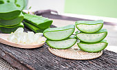 aloe Vera slice in wooden spoon on wooden table. herb for skin care and hair care that can be used as treatment.
