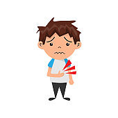 Suffering boy hold his stomach in pain. Poisoning or illness. Vector illustration EPS 10
