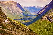 Green valley from Trollstigen mountain area