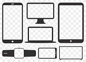 Mobile Phone, Tablet PC, Computer Monitor, Laptop Screen and Smart Watch Silhouette Vector Icon Set.