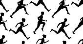 Seamless pattern with Jogging people