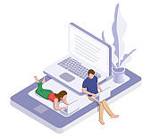 Online education or working concept. Woman and man on the phone with laptop
