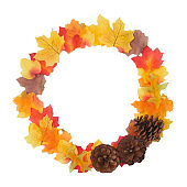 Overhead Flat Lay Autumn Still Life Composed Leaves And Pine Cones In A Circle On White Background