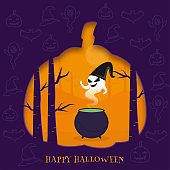 Happy Halloween Celebration Poster Design with Cartoon Ghost Wear Witch Hat and Cauldron on Paper Cut Forest Background.