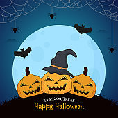Illustration of Spooky Pumpkins with Witch Hat, Bats Flying and Spider Web on Blue Full Moon Background for Happy Halloween Trick Or Treat.