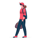 Cartoon Young Boy Wear Medical Mask with Holding Bags in Walking Pose.