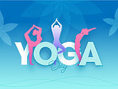 Yoga Day Text with Silhouette Female Doing Yoga Asanas on Gradient Blue Background.