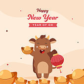 Cartoon Ox Character Holding A Lantern And Ingot On Pastel Peach Background For Happy Chinese New Year.